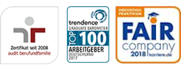 Logos Corporate Health Award 2009, Zertifikat 2008 audit berufundfamilie, Fair Company, Universum Top 100 Arbeitgeber, Trendenc
